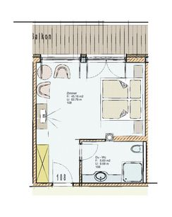 Floor plan of Standard double room 108