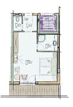 Floor plan of Standard double room 104