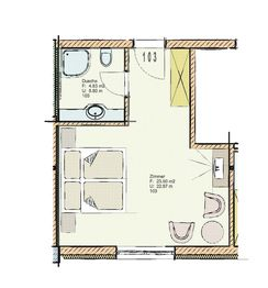 Floor plan of Standard double room 103