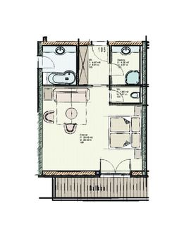 Floor plan of Deluxe family room 105